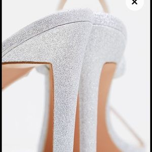 Silver Sparkly Two Striped Heel